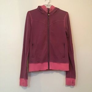 Lululemon Pink & Burgundy Striped Hoodie